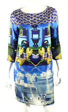 MARY KATRANTZOU Blue & Yellow Surreal Print Silk Shift Dress 8 12UK