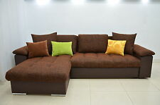 NEW CORNER SOFA BED ''MIKE'', MODERN QUILTING, ECO LEATHER AND WOVEN FABRIC !!