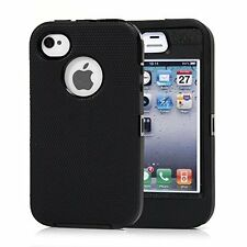 Defender Protective Case Black w/Belt Clip & Screen Protector For IPhone 4/4S