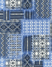 Fabric African Kente Patchwork Blue & Black on White Cotton by the 1/4 yard BIN
