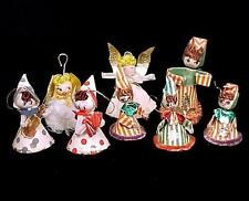 8 Vintage Christmas Tree Ornaments Spun Cotton Cardboard Chenille Feather Foil