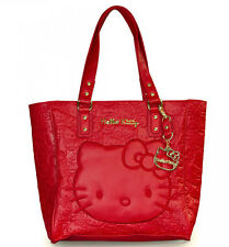 LOUNGEFLY Hangbag Bag HELLO KITTY Purse SANRIO RED Embossed Satchel Face Tote