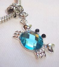 Blue Rhinestone December Birthstone Crab Dangle Bead for European Charm Bracelet