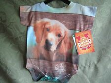 Genuine Rodeo Rags Onsie 6 Months Dog Puppy On Front And Back Baby Cute 3 Snaps