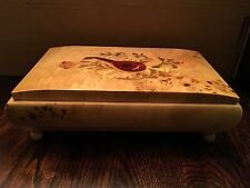 Vintage Sorrento Facination Inlaid Maple Wood Footed Large Music Box