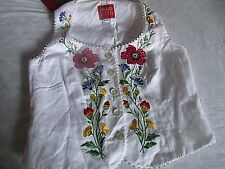 White Linen Vest Poppy Floral Embroidered VEST Top Blouse Size 8 Made in France
