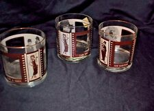 Vintage Roaring 20s film classics whiskey liquor high ball glass 3 1/2 tall 3 di