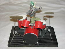Handmade Scrap Metal Sculpture Statue Art Drummer Kit Music old Mohawk Punk OOAK