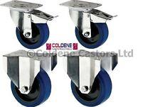 "Heavy Duty Blue Elastic Rubber Castor, 4-Pack (100MM/4"")"