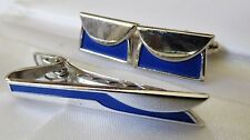VTG ANSON SILVER TONE METAL BLUE ENAMEL CUFF LINKS & TIE BAR CLASP PIN SET