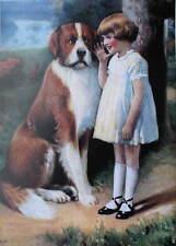 Little Girl St Bernard dog R Atkinson Fox