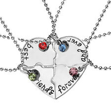 4Pcs/Set Best Friends Forever and Ever Hand Stamped Heart Piece Necklace Pretty