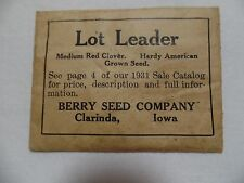1931 Sealed Package Medium Red Clover Seed Berry Seed Company Carinda, Iowa Unop