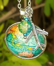 �� BIRTHDAY GIFT NECKLACE �� AIRPLANE CHARM NECKLACE �� WORLD MAP TRAVEL ��