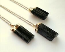 Raw Black Tourmaline Pendant Gold Plated Gemstone Specimen Reiki Chakra Healing.