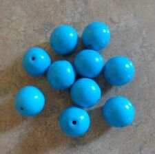 Lot 10 Round Arizona Blue Sleeping Beauty Turquoise Beads 12mm Rounds Vtg