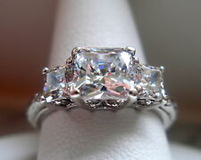 QVC TACORI Epiphany Sterling Silver Diamonique Princess Cut Ring 2.15 TCW Size 7