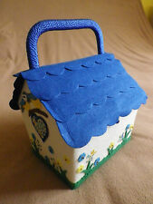 BLUE TIT BIRD BOX / HOUSE DESIGN CHILDRENS SEWING BASKET / WORK BOX.NEW