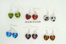 FREE wholesale lot 10Pairs Dot Heart murano glass bead Silver Plated earrings