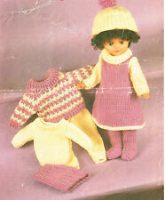 "Dolls clothes knitting pattern for 16""-18""- 20"" doll.Laminated copy. (V Doll 74)"