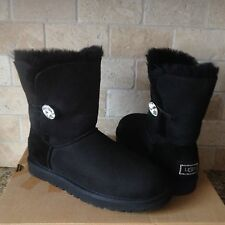 UGG Classic Short Bailey Button Bling Black Suede Sheepskin Boots US 8 Womens