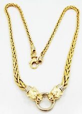 "Nice 14K Yellow & White Gold Detailed Panther Basket Weave 17"" Necklace B3589"