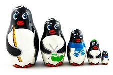 Matryoshka Russian Nesting Doll Babuska Babushka Wooden Pinguins Penguin 5 Pc