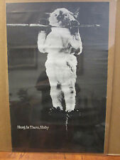 vintage 70s Hang in there, baby! black and white cat poster  9066