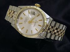 Mens Rolex Date 2Tone 14K Yellow Gold Stainless Steel Watch Silver Dial Jubilee