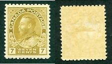 Mint Canada 7 Cent Straw KGV Admiral Stamp #113b (Lot #9193)