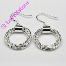 925 Sterling Silver Plated Tied Strings Earring Dangle Earrings Free Shipping e