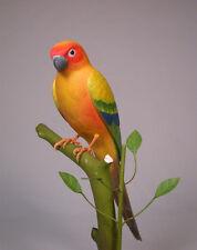 """11"""" Sun Conure Original Bird Carving Wood/Birdhug"""