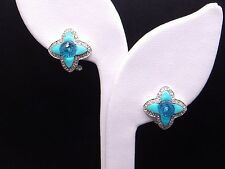 10k White Gold 2.48ct Blue Topaz Turquoise Diamond Button Stud Flower Earrings