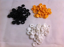 48 Fermagli di plastica nylon Hinged Screw COVER CAPS FLIP TOP BIANCO NERO GIALLO