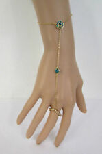 New Women Gold Metal Flower Hand Chains Slave Ring Fashion Bracelet Blue Bead