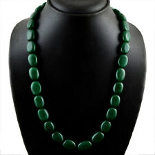 430.00 CTS EARTH MINED MAN MADE OVAL SHAPED RICH GREEN EMERALD BEADS NECKLACE