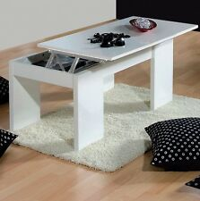Lucia White Gloss 3D Textured Modern Coffee Table Lift Up Storage Lounge Riser