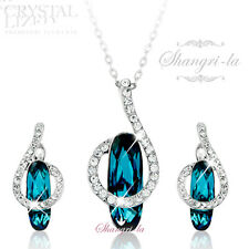 18K White GOLD GF Indicolite BLUE NECKLACE EARRINGS SET Swarovski CRYSTAL TE603