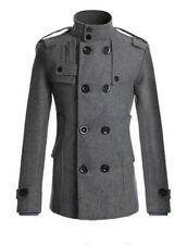 Fashionable Double Breasted Winter  Mens Grey Coat - Size M To Large Rep £33
