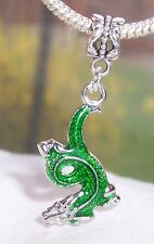 Green Enamel Dragon Fantasy Animal Dangle Bead for European Style Charm Bracelet