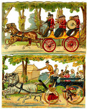 c1890 VICTORIAN DIE-CUT ALBUM SCRAPS ~ 2 x HORSE & CARRIAGE SCENES FAMILY & BAND