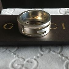Authentic Gucci Sterling Silver  Ring Sz 12, L 1/2. Lightly Worn.