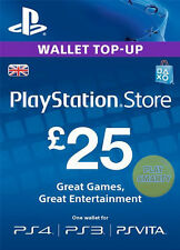 UK £25 PLAYSTATION NETWORK Prepaid Card GBP PSN für PS3 PS 4 PSP Code Key