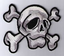 SKULL CROSSBONES WHITE CAMO PATCH IRON ON OR SEW ON