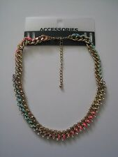 NEW NWT Gold RAINBOW Multi-color NEON Pastel OLD NAVY Rhinestone Chain Necklace
