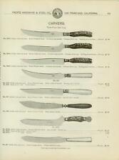 Catalog Page Ad  Knife Carving Silver Celluloid Stag Handles Sterling Knive 1902