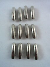 "12 Silver Tone Long Domed Rectangle Studs Clothing Decoration Leather 3/4"" Long"