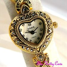 Gold Plate Vintage Deco Mop Heart & Kiss Marcasite Ladies Watch w/ Jet Swarovski