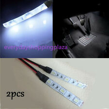 2pcs 3-SMD Ultra white LED Strip Lights For CAR Cup Holder Glove Box Foot Area