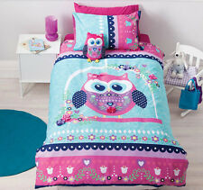 Pretty Owl Single Bed Quilt Cover Set - Fully Reversible - Cubby House Kids